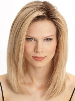 Romantic Medium Lace Front Straight Remy Hair Wig
