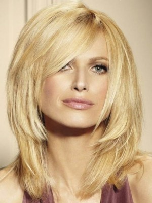 Most Popular Medium Layered Human Hair Lace Front Blonde Wig