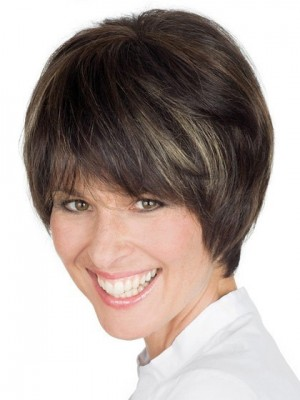 Fashionable Short Cropped Fringe Lace Front Remy Human Hair Wig