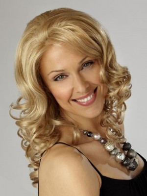 Light Blonde Shoulder Length Synthetic Wavy Lace Wig For Woman