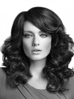 New Style Long Synthetic Spiral Wavy Lace Wig For Woman