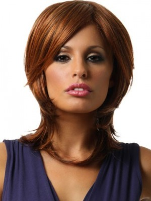Medium Straight Synthetic Lace Front Wig For Woman