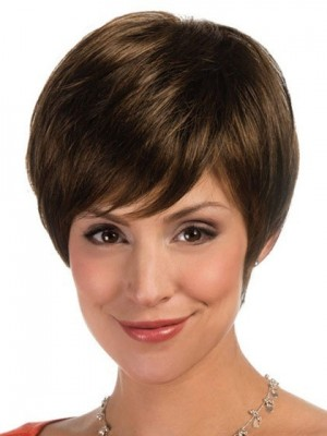 Lace Front Synthetic Cropped Wig For Woman With Asymmetric Fringe