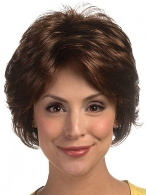 Cool Short Synthetic Feathery Layered Style Lace Wig For Woman