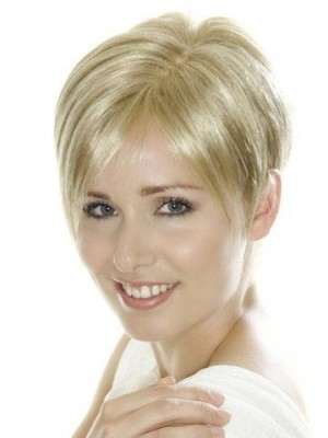 Light Blonde Short Cropped Synthetic Lace Wig For Woman