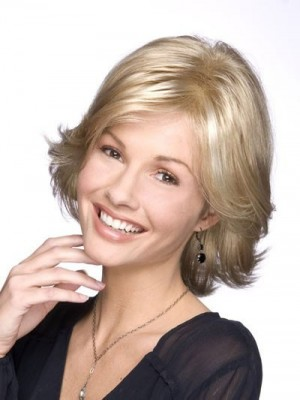 Lovely Mid-Length Synthetic Lace Front Wig For Woman