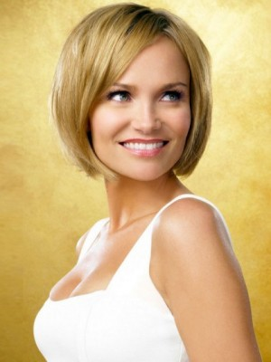 Chin-length Straight Lace Front Remy Hair Wig For Woman
