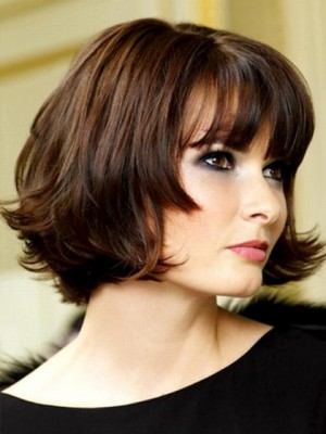 Medium Length Human Hair Wig For Woman With Little Curls