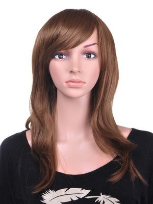 Textured Human Hair Straight Long Wig