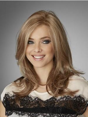 Natural Wavy Medium Length Human Hair Lace Wig