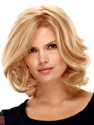 Nice Medium Lace Front with Mono Wavy Wig For Woman