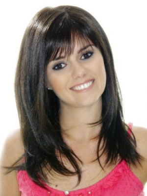 Long Layered Straight Human Hair Full Lace Wig For Woman