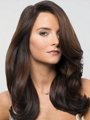 Marvelous Lace Front Long Wavy Human Hair Wig