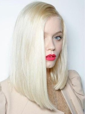 Pleasant Human Hair Straight Lace Front Wig