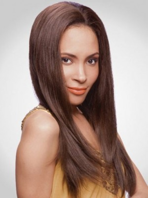 Lace Front Long Centre Parting Remy Human Hair Wig For Woman