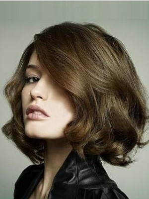 Hand Knotted Cute Bob Hairstyle Lace Wig For Woman