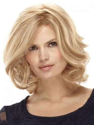 Medium Wavy Blonde Lace Wig For Woman