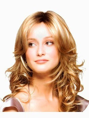 Centre Parting Hairstyle Synthetic Wavy Lace Wig For Woman