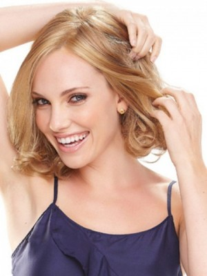 Classic Chin Length Curled Bob Lace Wig For Woman