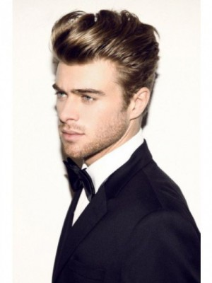 Wavy Full Lace Short Remy Human Hair Mens Wig