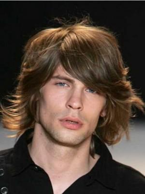 Medium Wavy Human Hair Mens Wig