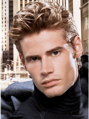 Trendy Wavy Remy Human Hair Mens Wig