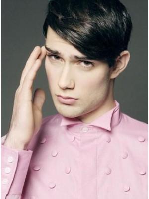 Custom Short Remy Human Hair Lace Mens Wig