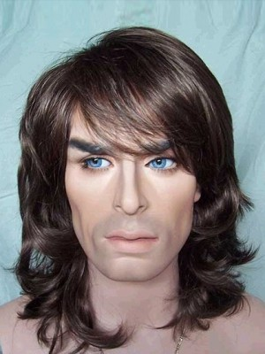 Medium Wavy Synthetic Capless Mens Wig