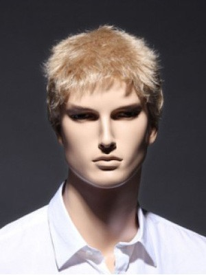 Short Blonde Sassy Full Lace Remy Human Hair Mens Wig