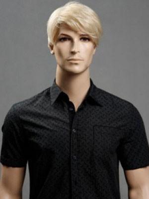 Capless Straight Blonde 6 Inch Medium Mens Wig