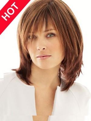 Cheap Human Hair Medium Length Wig
