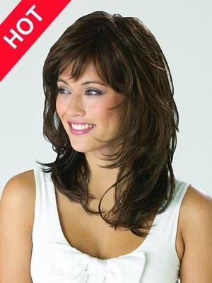 Wavy Shoulder Length Charming Human Hair Wig