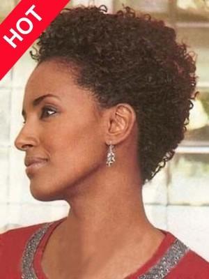 Short Human Hair African American Culy Wig