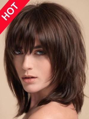 Smooth Shoulder Length Straight Wig