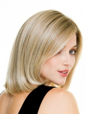 Silky Straight Lace Front Chin Length Synthetic Wig