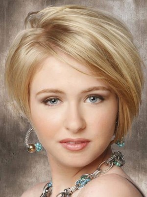 Elegante Short Straight Front Lace Synthetic Wig