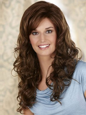 Fashionable Wavy Lace Front Wig With Side Swept Bangs