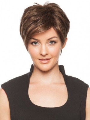 Romantic Capless Brown Straight Short Wig