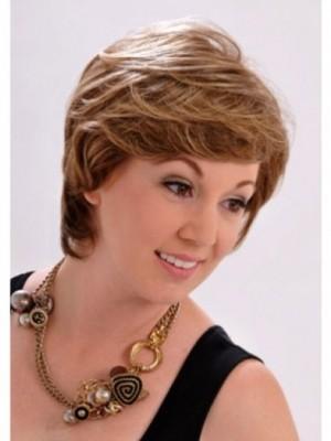 Chic Short Wavy Monofilament Brown Perfect Wig