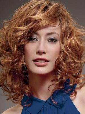 Stylish Medium Length Wavy Synthetic Wig