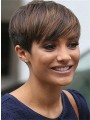 Simple Short Human Hair Straight Capless Wig